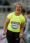 SHANGHAI, CHINA - MAY 19:  Sandra Perkovic of Croatia competes to win the Women DiscusThrow during the Samsung Diamond League on May 19, 2012 at the Shanghai Stadium in Shanghai, China.  Photo by Victor Fraile / The Power of Sport Images