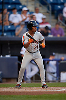 Aberdeen Ironbirds Jean Carmona (24) at bat during a NY-Penn League game against the Staten Island Yankees on August 22, 2019 at Richmond County Bank Ballpark in Staten Island, New York.  Aberdeen defeated Staten Island 4-1 in a rain shortened game.  (Mike Janes/Four Seam Images)
