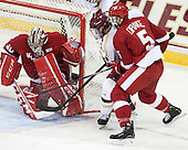 Landon Peterson (Wisconsin - 30), Ryan Fitzgerald (BC - 19), Chase Drake (Wisconsin - 5) - The Boston College Eagles defeated the visiting University of Wisconsin Badgers 9-2 on Friday, October 18, 2013, at Kelley Rink in Conte Forum in Chestnut Hill, Massachusetts.