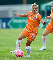 Sky Blue FC  midfielder/forward Kacey White (20) controls the ball during a WPS match at Anheuser-Busch Soccer Park, in St. Louis, MO, June 7, 2009. Athletica won the match 1-0.