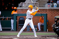 Tennessee Volunteers second baseman Max Ferguson (2) at bat against the Vanderbilt Commodores on Robert M. Lindsay Field at Lindsey Nelson Stadium on April 16, 2021, in Knoxville, Tennessee. (Danny Parker/Four Seam Images)