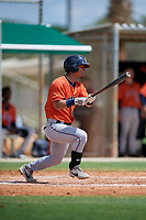 GCL Astros Alfredo Angarita (2) bats during a Gulf Coast League game against the GCL Marlins on August 8, 2019 at the Roger Dean Chevrolet Stadium Complex in Jupiter, Florida.  GCL Astros defeated GCL Marlins 4-2.  (Mike Janes/Four Seam Images)