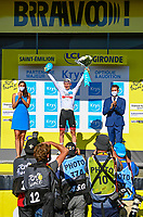 17th July 2021, St Emilian, Bordeaux, France;  POGACAR Tadej (SLO) of UAE TEAM EMIRATES on the podium after stage 20 of the 108th edition of the 2021 Tour de France cycling race, an individual time trial stage of 30,8 kms between Libourne and Saint-Emilion.