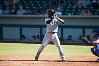 Peoria Javelinas shortstop Lucius Fox (5), of the Tampa Bay Rays organization, at bat during an Arizona Fall League game against the Mesa Solar Sox at Sloan Park on October 24, 2018 in Mesa, Arizona. Mesa defeated Peoria 4-3. (Zachary Lucy/Four Seam Images)