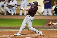 Mississippi State Bulldog third baseman Phillip Casey #3 swings against the LSU Tigers during the NCAA baseball game on March 16, 2012 at Alex Box Stadium in Baton Rouge, Louisiana. LSU defeated Mississippi State 3-2 in 10 innings. (Andrew Woolley / Four Seam Images)