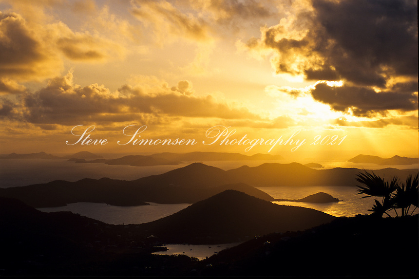 Sunrise from Bordeaux Mountain <br /> looking past Coral Harbor into the BVI<br /> St. John<br /> U.S. Virgin Islands