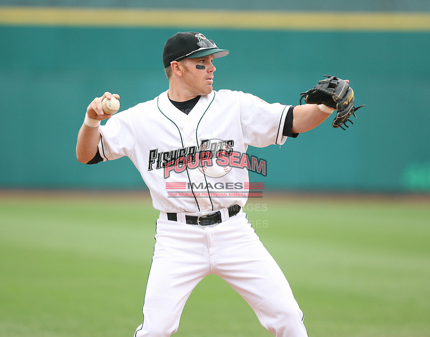 2007:  Ryan Klosterman of the New Hampshire Fisher Cats, Class-AA affiliate of the Toronto Blue Jays, during the Eastern League baseball season.  Photo by Mike Janes/Four Seam Images