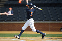 Jack Weiller (3) of the Virginia Cavaliers follows through on his swing against the Wake Forest Demon Deacons at David F. Couch Ballpark on May 19, 2018 in  Winston-Salem, North Carolina. The Demon Deacons defeated the Cavaliers 18-12. (Brian Westerholt/Four Seam Images)