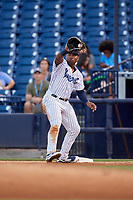 Tampa Tarpons first baseman Steven Sensley (27) during a Florida State League game against the St. Lucie Mets on April 10, 2019 at George M. Steinbrenner Field in Tampa, Florida.  St. Lucie defeated Tampa 4-3.  (Mike Janes/Four Seam Images)