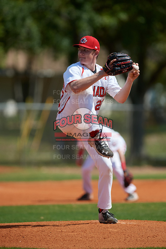 Canada Junior National Team pitcher Mitch Bratt (22) during an exhibition game against the Philadelphia Phillies on March 11, 2020 at Baseball City in St. Petersburg, Florida.  (Mike Janes/Four Seam Images)
