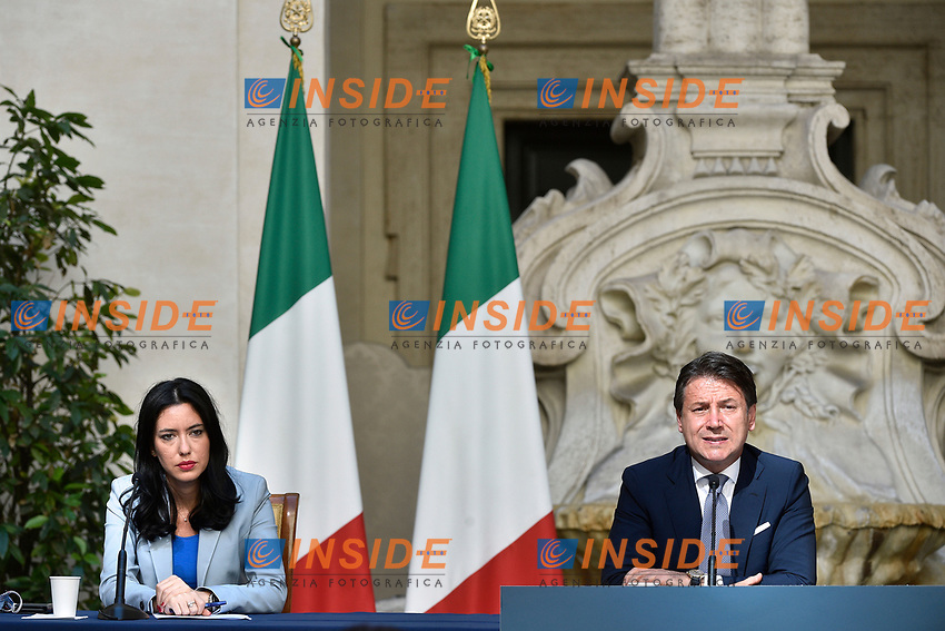 The Italian Premier Giuseppe Conte and the Minister of Instruction Lucia Azzolina during the press conference at Palazzo Chigi, about the measures to contrast the Covid-19 pandemic at the reopening of the schools on September 14th.<br /> Rome (Italy), September 9th 2020<br /> Photo Pool Paolo Tre Insidefoto