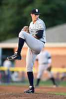 Staten Island Yankees pitcher Dillon McNamara (54) delivers a pitch during a game against the Batavia Muckdogs on August 6, 2014 at Dwyer Stadium in Batavia, New York.  Batavia defeated Staten Island 5-3.  (Mike Janes/Four Seam Images)