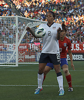 USWNT forward Sydney Leroux (2) chest trap. In an international friendly, the U.S. Women's National Team (USWNT) (white/blue) defeated Korea Republic (South Korea) (red/blue), 4-1, at Gillette Stadium on June 15, 2013.