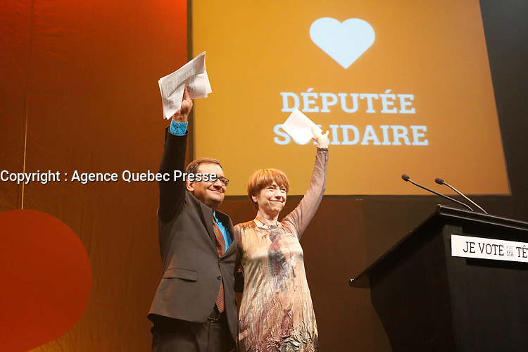 April 7, 2014 -  Francois David, leader speak at Quebec Solidaire gathering at Olympia theatre on election night. <br /> <br /> Photo : Alexa Enlow Malky