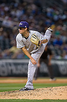 Louisville Bats relief pitcher Drew Hayes (24) follows through on his delivery against the Charlotte Knights at BB&T BallPark on May 12, 2015 in Charlotte, North Carolina.  The Knights defeated the Bats 4-0.  (Brian Westerholt/Four Seam Images)