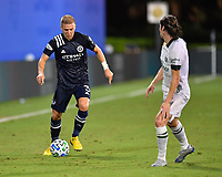 LAKE BUENA VISTA, FL - AUGUST 01: Anton Tinnerholm #3 of New York City FC looks to dribble by Jorge Villafaña #4 of the Portland Timbers during a game between Portland Timbers and New York City FC at ESPN Wide World of Sports on August 01, 2020 in Lake Buena Vista, Florida.