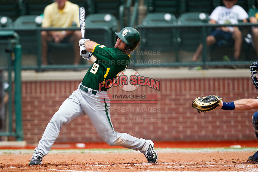 Baylor Bears outfielder Logan Vick #19 swings during the NCAA Regional baseball game against Oral Roberts University on June 3, 2012 at Baylor Ball Park in Waco, Texas. Baylor defeated Oral Roberts 5-2. (Andrew Woolley/Four Seam Images)