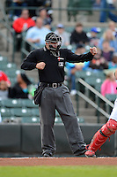 Umpire Jeff Gosney makes a call during a game between the Rochester Red Wings and Durham Bulls on May 17, 2013 at Frontier Field in Rochester, New York.  Rochester defeated Durham 11-6.  (Mike Janes/Four Seam Images)