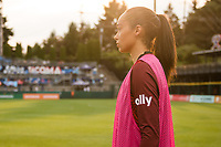 TACOMA, WA - JULY 31: Phallon Tullis-Joyce #91 of the OL Reign looks on before a game between Racing Louisville FC and OL Reign at Cheney Stadium on July 31, 2021 in Tacoma, Washington.