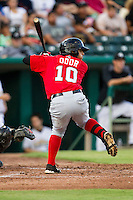 Frisco Roughriders second baseman Rougned Odor (10) at bat in the Texas League baseball game against the San Antonio Missions on August 22, 2013 at the Nelson Wolff Stadium in San Antonio, Texas. Frisco defeated San Antonio 2-1. (Andrew Woolley/Four Seam Images)