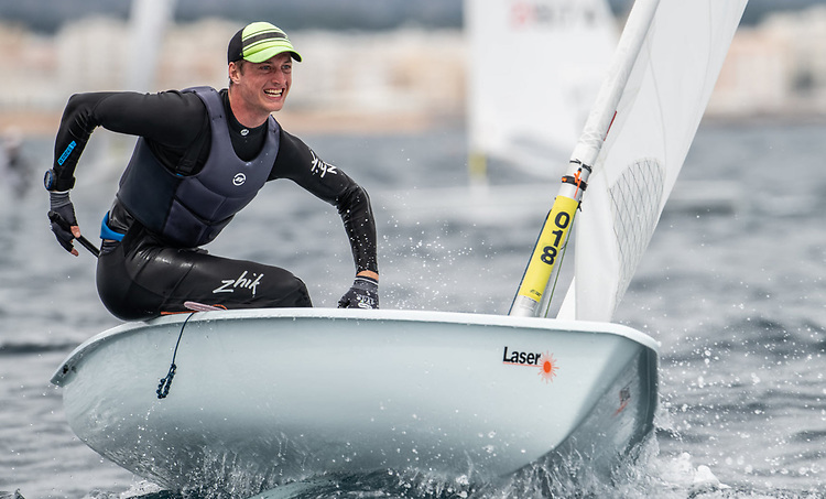 Howth's Ewan McMahon racing in day three of the ILCA 7 Vilamoura Championships