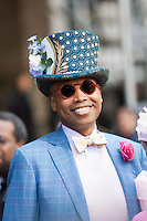 A 2011 New York City Easter Parade participant dressed for the occasion with a fancy hat.