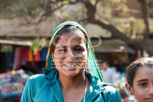 Rajasthan, India. Sawai Madhopur. Woman with large nose ring - probably a newly-wed.