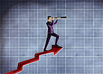 Illustrative image of businessman looking through telescope on arrow representing forecast