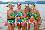 On dry land after completing their swim from Derrymore to Fenit on Saturday morning as a fundraiser for Baile Mhuire Care Centre in Tralee. L to r:  Caroline Corkery, Elaine Burrows Dillane and Sandra Martin.
