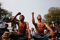 Bangladeshi activists gathered at Dhaka University area for protest Avijit's death, Dhaka, Bangladesh. Feb. 27, 2015.