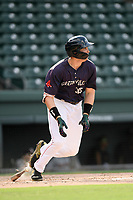 First baseman Triston Casas (38) of the Greenville Drive in a game against the Delmarva Shorebirds on Friday, August 2, 2019, in the continuation of rain-shortened game begun August 1, at Fluor Field at the West End in Greenville, South Carolina. Delmarva won, 8-5. (Tom Priddy/Four Seam Images)