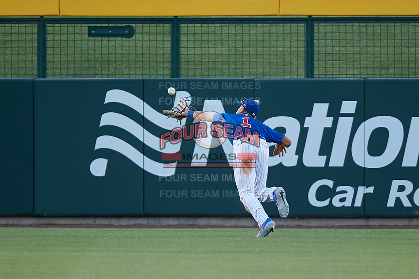 AZL Cubs 1 center fielder Ezequiel Pagan (1) catches a fly ball on the run during an Arizona League game against the AZL Padres 1 on July 5, 2019 at Sloan Park in Mesa, Arizona. The AZL Cubs 1 defeated the AZL Padres 1 9-3. (Zachary Lucy/Four Seam Images)
