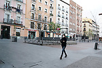 A woman walks in Plaza de Chueca during the health crisis due to the Covid-19 virus pandemic - Coronavirus. March 17,2019. (ALTERPHOTOS/Acero)