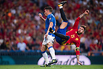 Andrea Belotti (L) of Italy fights for the ball with Sergio Ramos (R) of Spain during their 2018 FIFA World Cup Russia Final Qualification Round 1 Group G match between Spain and Italy on 02 September 2017, at Santiago Bernabeu Stadium, in Madrid, Spain. Photo by Diego Gonzalez / Power Sport Images