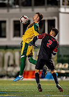 13 November 2019: University of Vermont Catamount Midfielder Jon Arnar Barðdal, a Senior from Garðabær, Iceland, in action against the University of Hartford Hawks at Virtue Field in Burlington, Vermont. The Catamounts fell to the visiting Hawks 3-2 in sudden death overtime of the Division 1 Men's Soccer America East matchup. Mandatory Credit: Ed Wolfstein Photo *** RAW (NEF) Image File Available ***