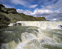 The upper falls and cascades at Guilfoss waterfall, southern Iceland