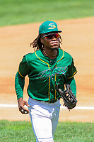 Beloit Snappers outfielder JaVon Shelby (5) during a Midwest League game against the Quad Cities River Bandits on June 18, 2017 at Pohlman Field in Beloit, Wisconsin.  Quad Cities defeated Beloit 5-3. (Brad Krause/Four Seam Images)