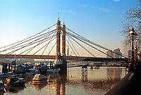 London: Albert Bridge from the Embankment.