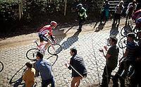 Kris Boeckmans (BEL/Lotto-Soudal) is one of the stronger riders up the Kemmelberg<br /> <br /> 3 Days of West-Flanders 2015<br /> stage 2: Nieuwpoort - Ichtegem 184km