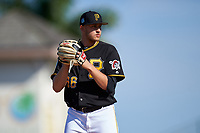 Pittsburgh Pirates relief pitcher Dovydas Neverauskas (66) gets ready to deliver a pitch during a Spring Training game against the Tampa Bay Rays on March 10, 2017 at LECOM Park in Bradenton, Florida.  Pittsburgh defeated New York 4-1.  (Mike Janes/Four Seam Images)