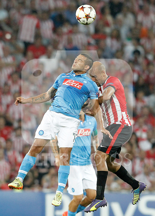 Athletic de Bilbao's Mikel Rico (r) and SSC Napoli's Walter Gargano during Champions League 2014/2015 Play-off 2nd leg match.August 27,2014. (ALTERPHOTOS/Acero)
