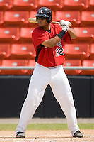 Jared Bolden #22 of the Hickory Crawdads at bat versus the West Virginia Power at L.P. Frans Stadium August 9, 2009 in Hickory, North Carolina. (Photo by Brian Westerholt / Four Seam Images)