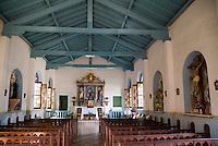 Empty pews inside a church in Vinales, Cuba.