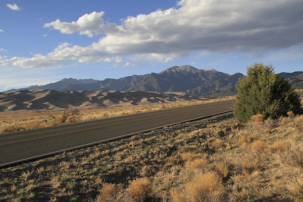Highway leading to Great Sand Dunes National Park, Colorado. John offers private photo trips to Great Sand Dunes National Park and all of Colorado. All year long.