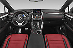 Stock photo of straight dashboard view of a 2015 Lexus NX 300h F Sport 4WD 5 Door SUV 4WD Dashboard