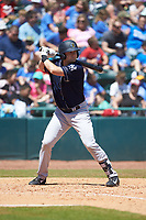 Mitchell Robinson (32) of the Charleston RiverDogs at bat against the Hickory Crawdads at L.P. Frans Stadium on May 13, 2019 in Hickory, North Carolina. The Crawdads defeated the RiverDogs 7-5. (Brian Westerholt/Four Seam Images)