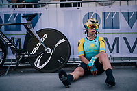 Faina Potapova (KAZ) post-finish<br /> <br /> WOMEN ELITE INDIVIDUAL TIME TRIAL<br /> Hall-Wattens to Innsbruck: 27.8 km<br /> <br /> UCI 2018 Road World Championships<br /> Innsbruck - Tirol / Austria
