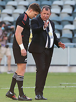 25th September 2021; Townsville, Gold Coast, Australia;  Beauden Barrett and All Blacks coach Ian Foster discuss tactics. All Blacks versus Springboks. The Rugby Championship. 100th Rugby Union test match between New Zealand and South Africa.