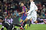 Football Season 2009-2010. Barcelona's player Pedro Rodriguez scoring a goal during the spanish liga soccer match at Camp Nou stadium in Barcelona. January 16, 2010.