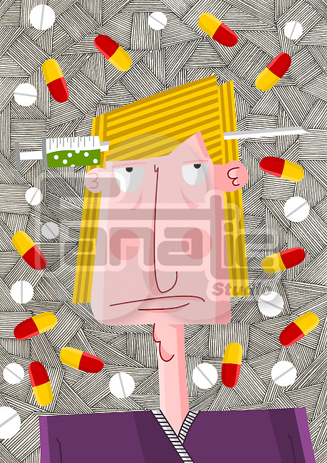 Front view of drug addict man surrounded with tablets and capsules